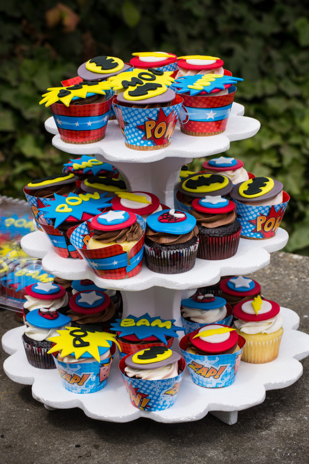 Awesome superhero cupcakes made by Yolanda Santiago